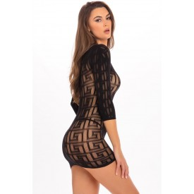 Ажурное облегающее платье с длинным рукавом